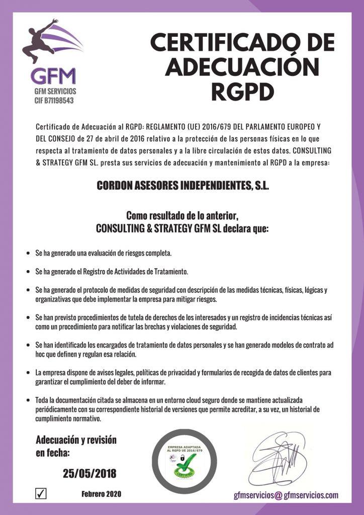 CERTIFICADO-ADECUACION-2020-CORDON-ASESORES-INDEPENDIENTES,-S.L