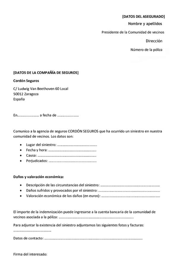 Modelo de carta reclamación al seguro